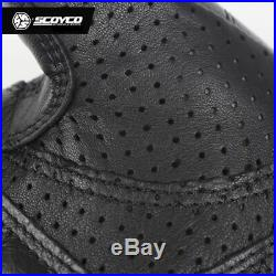 Motorcycle Gloves Black Leather Full Finger Long Cycling Racing Protective Gear